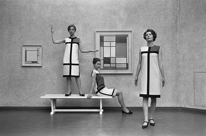 Trois robes de cocktail, hommage à Piet Mondrian  (Yves Saint Laurent/photo Eric Koch/Nationaal Archief)
