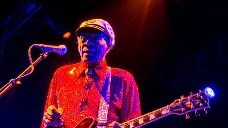 Le guitariste et chanteur Chuck Berry, le 24 février 2013 à Moscou (Russie). (RIA NOVOSTI / AFP)