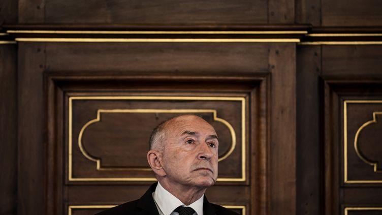 Gérard Collomb, lors d'une conférence de presse, le 6 juin 2019, à Lyon. (JEFF PACHOUD / AFP)