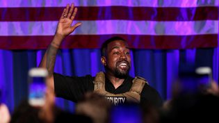 Le rappeur Kanye West, pour son premier meeting en Caroline du Sud (Etats-Unis), le 19 juillet 2020. (RANDALL HILL / X02905)
