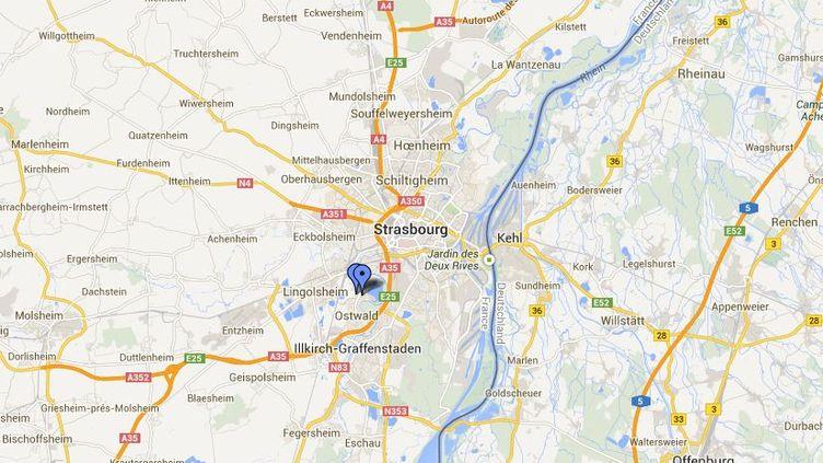Capture d'écran pointant la commune d'Ostwald (Bas-Rhin) où un adolescent de 13 ans, interpellé mercredi 21 août, a tenté de braquer une pharmacie et une voiture avec un pistolet factice. (GOOGLEMAPS / FRANCETV INFO)