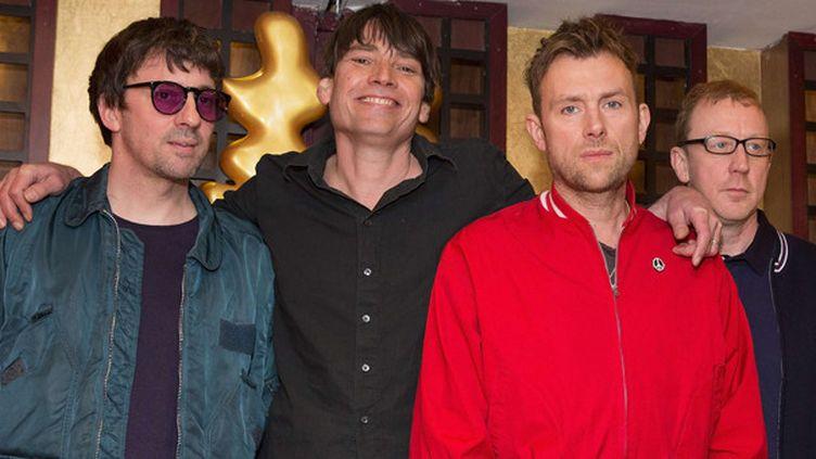 Blur lors de leur conférence de presse le 19 février 2015 : Graham Coxon, Alex James, Damon Albarn et Dave Rowntree.  (Brian Rasic/REX/REX/SIPA)