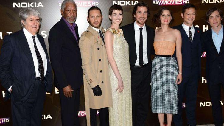 L'équipe du film The Dark Knight Rises pour l'avant-première à Londres (Royaume-Uni) le 18 juillet 2012. (REX FEATURES / SIPA)