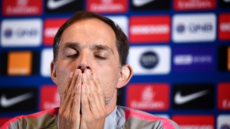 L'entraîneur du PSG, Thomas Tuchel, le 29 avril 2019. (ANNE-CHRISTINE POUJOULAT / AFP)