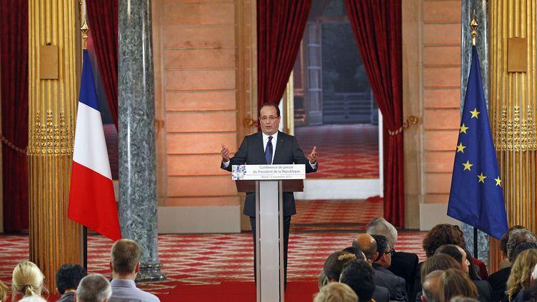 Le président de la République, François Hollande, lors de la conférence de presse donnée mardi 13 novembre 2012 à l'Elysée. (REMY DE LA MAUVINIERE / AP /SIPA )