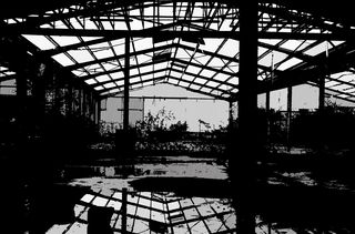 Une vue de l'intérieur de l'ancienne usine Matrax à Vernouillet (Yvelines), le 6 mars 2019. (RAPHAEL GODET / JESSICA KOMGUEN / NOEMIE CARON / AWA SANE / FRANCEINFO)