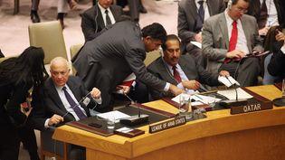 Le secrétaire général de la Ligue Nabil Al-Araby (G) et le Premier ministre du Qatar, le cheikh Hamad bin Jaber bin Muhammad Al Thani, représentant de la Ligue, lors de la réunion du Conseil de sécurité de l'ONU le 31 janvier 2012, à New York. (MARIO TAMA / GETTY IMAGES NORTH AMERICA / AFP)