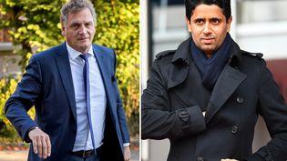 L'ancien secrétaire général de la Fifa, Jérôme Valcke (à gauche), et le président du PSG, Nasser Al-Khelaïfi (à droite), sont soupçonnés de corruption par la justice suisse. (AFP)