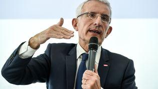 Guillaume Pepy, patron de la SNCF, lors d'une conférence de presse le 28 février 2019. (ERIC PIERMONT / AFP)
