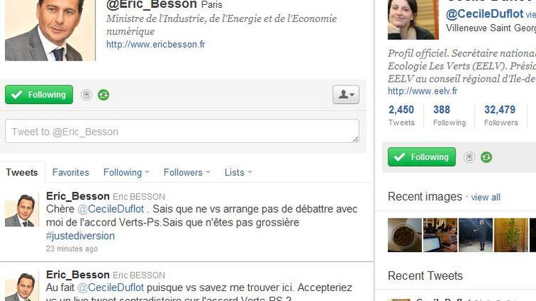 L'échange entre Eric Besson et Cécile Duflot sur Twitter, le 5 décembre 2011, s'arrête sur ce dernier tweet du ministre de l'Industrie.