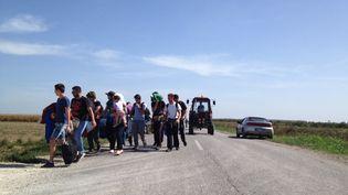 Des migrants sur la route entre la Serbie et la Croatie, le 17 septembre 2015. (ELISE LAMBERT / FRANCETV INFO)