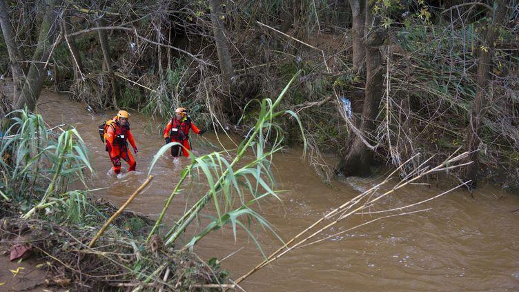 Des pompiers sonde une rivière à La-Londe-les-Maures (Var), après des inondations qui ont fait au moins quatre morts, le vendredi 28 novembre. (BERTRAND LANGLOIS / AFP)