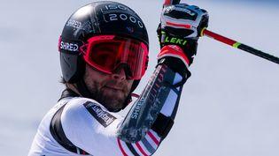 Le skieur français Mathieu Faivre lors de sa victoire à Bansko le 28 février 2021 (NIKOLAY DOYCHINOV / AFP)