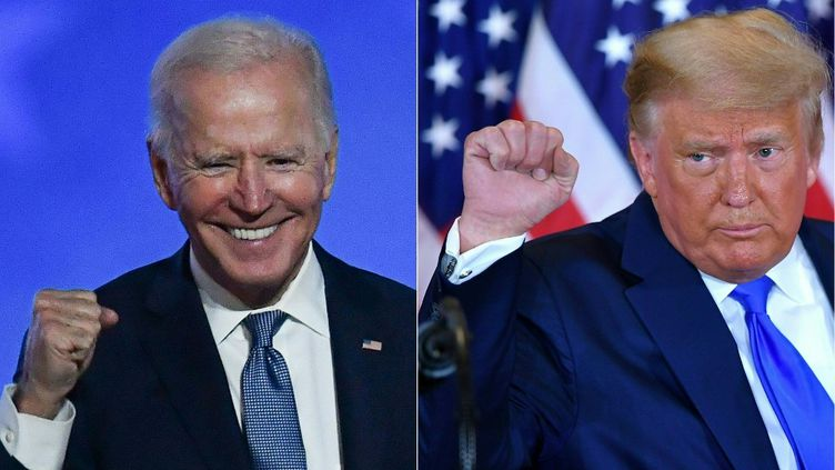 Les candidats à la présidentielle américaine, Joe Biden et Donald Trump, le 4 novembre 2020, lors de leur prise de parole respective après l'élection. (ANGELA  WEISS / AFP)