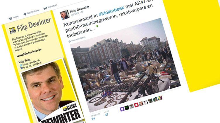 (La page Twitter de Filip Dewinter avec la fausse image. © Capture d'écran Twitter)