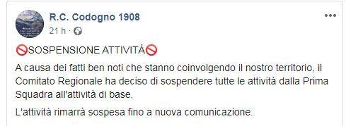 Capture d'écran d'un post Facebook du club de football deCodogno (Italie), annonçant l'annulation des matchs de football, le23 février 2020.  (FACEBOOK)