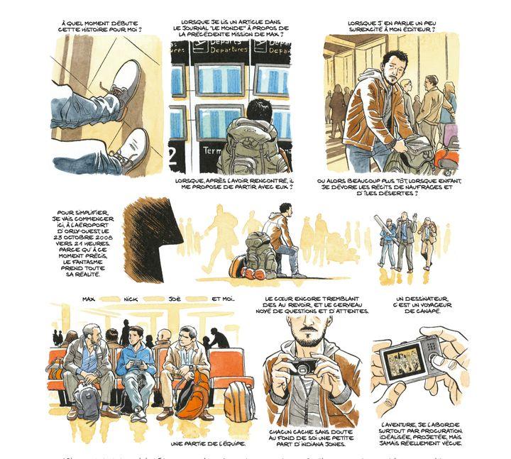 """Sylvain Savoia se représente lui-même en train de partir à Tromelin, via La Réunion, avec une mission archéologique.Planche extraite de la bande dessinée """"Les Esclaves oubliésde Tromelin"""" par Savoia. (© DUPUIS 2019)"""