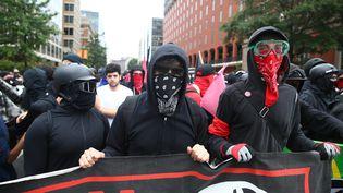 Des groupes de suprémacistes blancs, néo-nazis, alt-right, antifa et leurs contre-manifestants ont défile dimanche 12 août à Washington aux Etats-Unis. (TASOS KATOPODIS / MAXPPP)