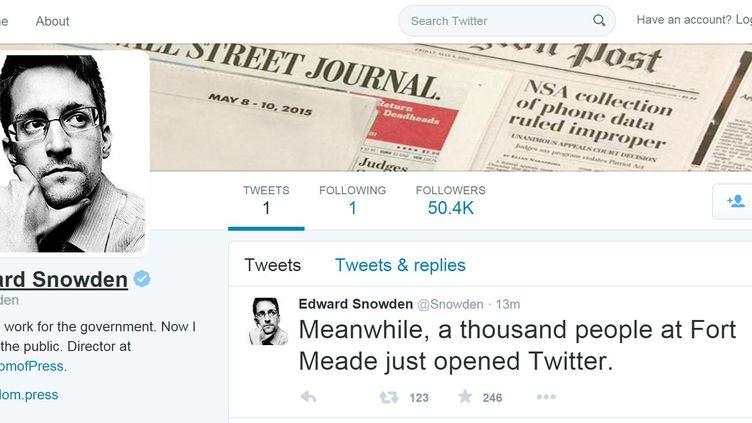Le compte Twitter d'Edward Snowden, ouvert le 29 septembre 2015. (EDWARD SNOWDEN / TWITTER)