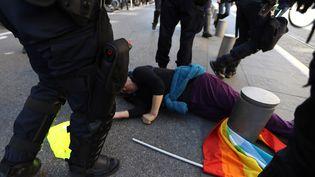 Geneviève Legay est tombée après une charge des forces de l'ordre samedi 23 mars place Garibaldi à Nice. (VALERY HACHE / AFP)