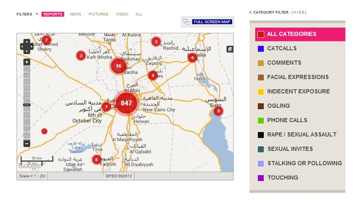 Capture d'écran de la carte de l'associationHarassMap, qui recense les cas de harcèlement sexuel en Egypte. (HARASSMAP)