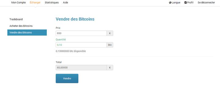 Un ordre de vente sur le site Bitcoin-Central. (VINCENT MATALON / FRANCET)
