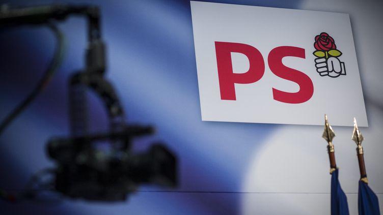 Le logo du Parti socialiste dans le gymnase Japy à Paris, le 5 octobre 2013. (MAXPPP)