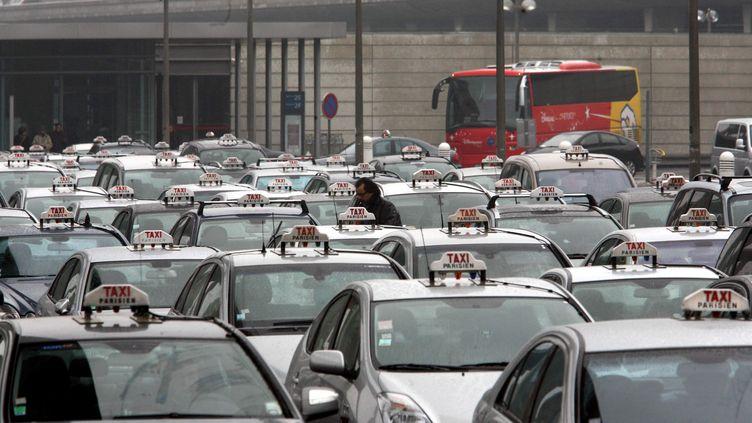 Lors d'une grève des taxis, le 17 février 2010, à l'aéroport de Roissy (Val-d'Oise). (  MAXPPP)