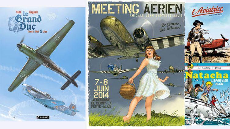 (Les avions de papier de Romain Hugault et Walthéry © R. Hugault, Paquet / R. Hugault, Paquet /Walthéry, Paquet / Walthéry, Dupuis)