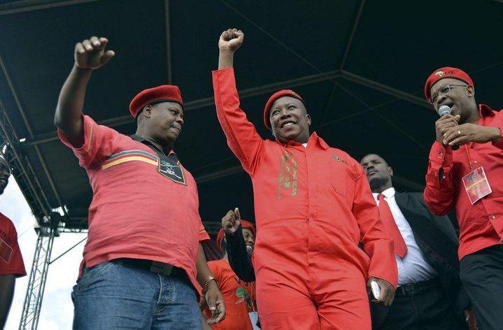 L'opposant Julius Malema, lors d'un meeting de son parti le 22 Février 2014 à Thembisa en Afrique du Sud (Photo AFP)