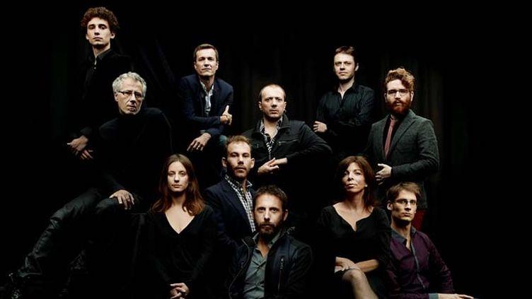 Les 11 membres de l'Orchestre National de Jazz autour d'Olivier Benoit (en bas au centre)  (Orchestre National de Jazz)