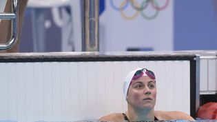 Charlotte Bonnet durant les séries du 200 mètres nage libre, lundi 26 juillet, à Tokyo. (KEMPINAIRE STEPHANE / KMSP / AFP)
