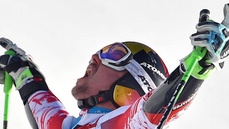 La joie de Marcel Hirscher, qui a plané sur le slalom de Zagreb (ETTORE FERRARI / MAXPPP)