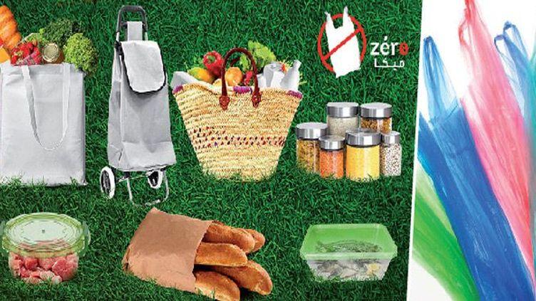 Campagne contre les sacs plastique au Maroc «zéro Mika». L'image met en avant des solutions alternatives aux sacs en plastique (appelés couramment Mika au Maroc). (DR)