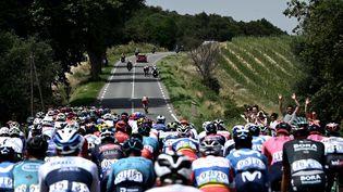 Le peloton sur les routes de la 14e étape du Tour de France entre Carcassonne et Quillan, samedi 10 juillet. (PHILIPPE LOPEZ / AFP)