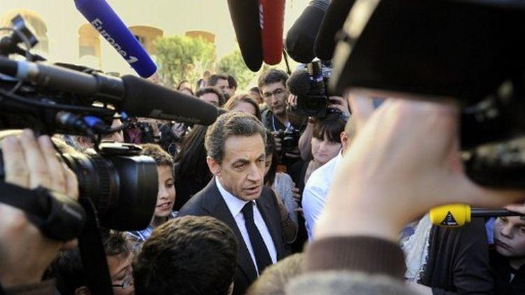 Nicolas Sarkozy répond aux questions des journalistes, le 28 février 2012. (AFP - Eric Feferberg)