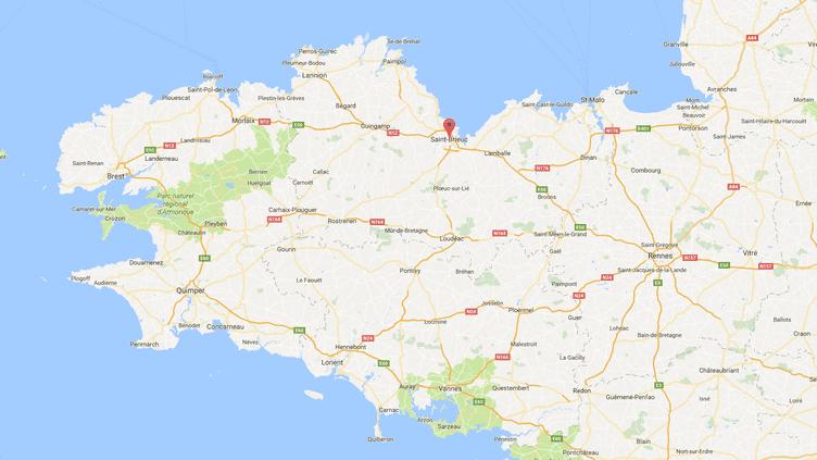 Carte de localisation deSaint-Brieuc. (GOOGLEMAPS)