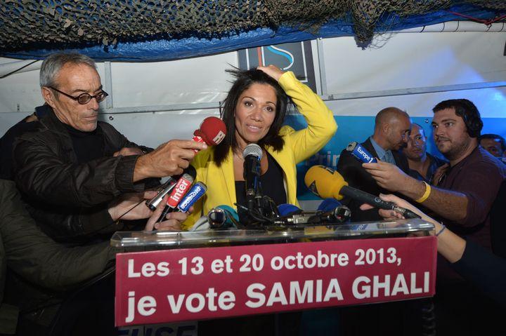 Samia Ghali reconnaît sa défaite lors de la primaire PS pour les municipales à Marseille, le 20 octobre. (BERTRAND LANGLOIS / AFP)