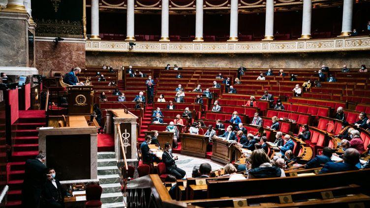 L'Assemblée nationale lors d'une session de questions au gouvernement, le 23 mars 2021. (XOSE BOUZAS / HANS LUCAS / AFP)