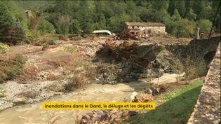 Un pont détruit dans le Gard isole cette maison (FRANCEINFO)