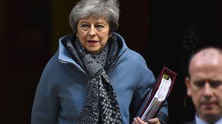 La Première ministre britannique, Theresa May, devant son bureau du 10 Downing Street, à Londres, le 3 avril 2019. (ALBERTO PEZZALI / NURPHOTO / AFP)