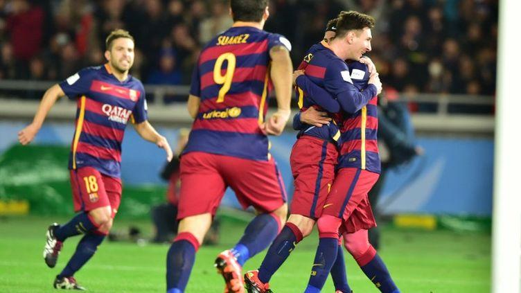 Messi et la joie des joueurs du Barça (YOSHIKAZU TSUNO / AFP)