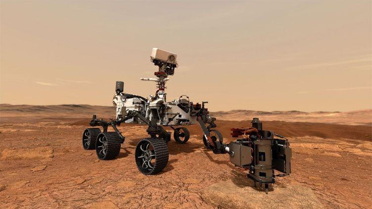 Une illustration du robot de la Nasa Persévérance, datant du 20 juillet 2020. (HANDOUT / NASA/JPL-CALTECH / AFP)