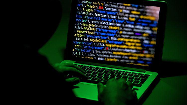 Un hacker devant un ordinateur, le 4 janvier 2019, à Moers (Allemagne). (SASCHA STEINBACH / EPA)
