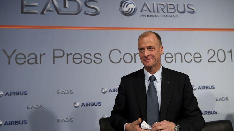 Le patron d'EADS, Tom Enders, lors d'une conférence de presse à Hambourg (Allemagne), en janvier 2012. (JOHANNES EISELE / AFP)