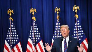 Le président des Etats-Unis Donald Trump lors d'un discours à la Maison Blanche, le 30 mai 2018. (NICHOLAS KAMM / AFP)