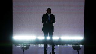 Donald Trump fait son entrée sur la scène de la convention républicaine, le 18 juillet 2016 à Cleveland (Ohio, Etats-Unis). (ALEX WONG / GETTY IMAGES NORTH AMERICA / AFP)