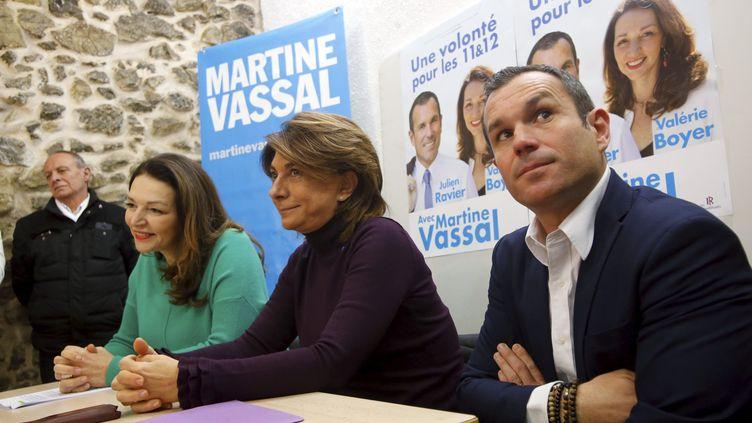 Présentation de Julien Ravier (à droite)et Valérie Boyer (à gauche)têtes de listes Les Républicains (LR), dans les 11ème et 12ème arrondissements de Marseille, en présence de Martine Vassal (au centre) candidate LR à lamairie de la ville le 18 janvier 2020. (MAXPPP)