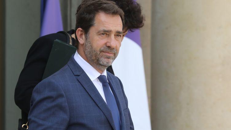 Christophe Castaner, le ministre de l'Intérieur, quitte l'Elysée, à Paris, le 24 avril 2019. (LUDOVIC MARIN / AFP)