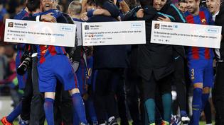 Les joueurs du FC Barcelone celèbrent leur victoire face au PSG en Ligue des Champions (6-1), le 8 mars 2017. (PAU BARRENA / AFP)